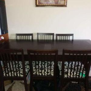 Τραπεζαρία από ξύλο καρυδιάς με 6 καρέκλες