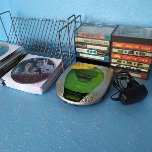 κασσετες,CD's,DVD's,WALKMAN CD,θηκη CD,τεμ=100,τιμη για ολα μαζι=20€