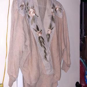 μπλουζα με υφασμα και νημα πλεκτο με κεντημα L/XL