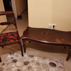 Μασίφ τραπεζακι  σαλονιού με καρέκλα