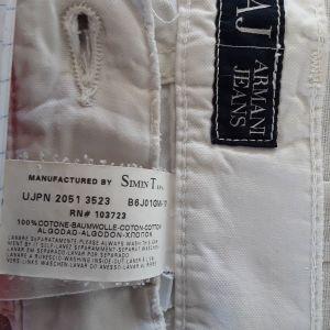 Παντελόνι επώνυμο Armani Jeans, ασπρο Πανίνο, καλοκαιρινό 100%cotton made in Italy. Size large. N.38.