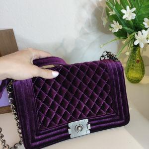 Μοβ τσάντα ώμου βελουτε   purple shoulder bag