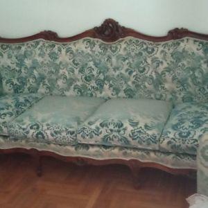 Τετραθέσιο σαλόνι αντίκα με δύο πολυθρόνες