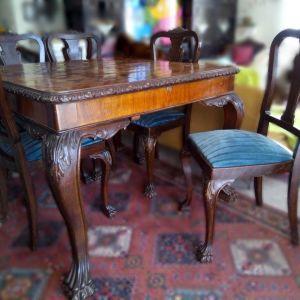 Σπάνια επεκτεινόμενη αντίκα Τραπεζαρία με έξι καρέκλες