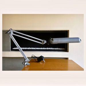 Industrial Architect Desk Lamp LIVAL 'GLOBAL' Finland / Eπιτραπέζιο Φωτιστικό Γκρί με Σφιγκτήρα - Κινητό με ρυθμιζόμενο ύψος