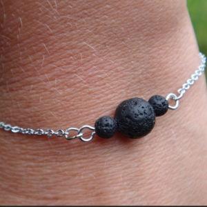 black lava bracelet chain  βραχιόλι λαβα