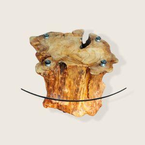 Τραπέζι από ξύλο κορμού Ελιάς 180 χρόνων και κρύσταλλο 75εκ. πάχους 1εκ.