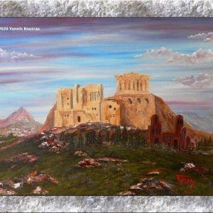 Πίνακας ζωγραφικής (Acropolis) Έργο ζωγραφισμένο στο χέρι σε τελαρωμένο καμβά: 35X45X1.5cm