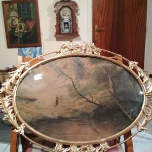 Παλιά χειροποίητη κορνίζα με ζωγραφιά