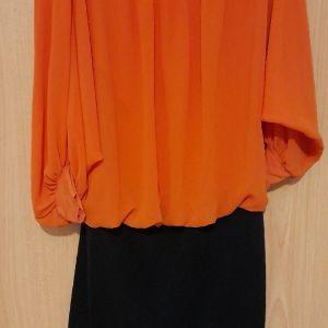 Φορεματακι νεανικο οργατζα πορτοκαλι πανω μαυρο ελαστιο κατω
