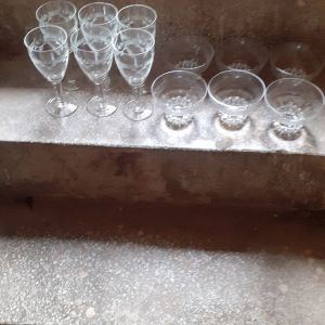 Crystal glasses and small bowls