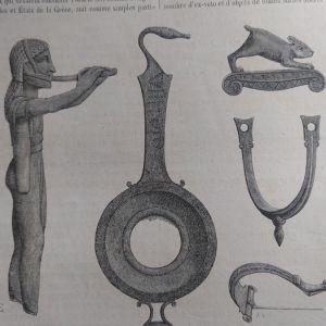 1882 Δωδώνη ευρήματα της ανασκαφής Καραπάνου ξυλογραφία
