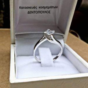 Δαχτυλιδι μονοπετρο ασημενιο 925 φλογα με ζιργκον.