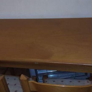 Σετ ξύλινο επεκτεινόμενο τραπέζι με 4 καρέκλες και προστατευτικό τζάμι