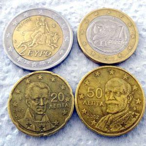 2 ευρώ 1 ευρώ 50 λεπτά 20 λεπτά του 2002 με S, F, E στα αστέρια