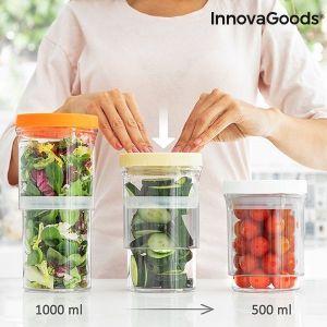 Προσαρμοζόμενα και Αεροστεγή Δοχεία Αποθήκευσης Τροφίμων (Σετ των 3) InnovaGoods