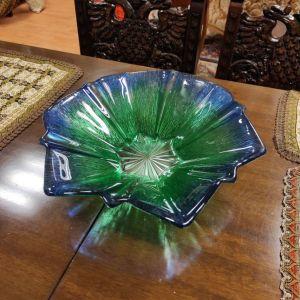 Γυάλινη Φρουτιέρα σε μπλε και πράσινη απόχρωση