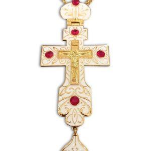 Επιστήθιος Ιερατικος Σταυρος με Λευκο Σμάλτο και κόκκινες πέτρες