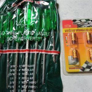 Κατσαβίδια σετ 7τμχ + καπακια βαλβίδων(4 τεμ.)