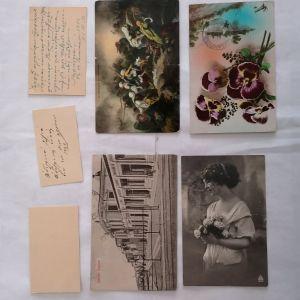 ΚΥΠΡΟΣ 3 κάρτες με ευχές του 1924 Μητροπολίτη Κυρήνειας Μακάριου, Γεωργίου Μ. Κυπριανού Λάρνακα και Γεώργιου Μ. Κυπριανού Λάρνακα + 4 καρτ ποστάλ με σφραγίδες προς το γιατρό Φ. Ζανέτο