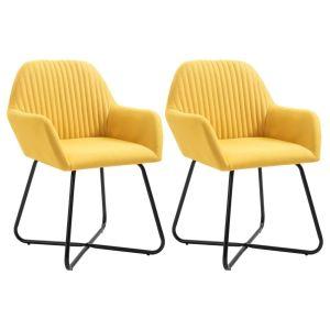 vidaXL Καρέκλες Τραπεζαρίας 2 τεμ. Κίτρινες Υφασμάτινες-249814