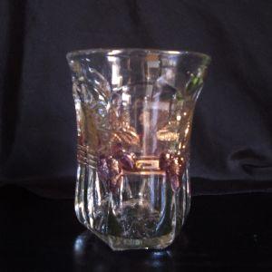 Αντίκα ποτήρι murano με φύλλο χρυσού κ ανάγλυφα χρωματιστά σχέδια.