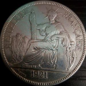 Piastre de Commerce Indochine Ινδο-Κινα 1921 SILVER