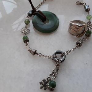 Σετ δαχτυλίδι ασημενιο, βραχιόλι και Κρεμαστό λαιμου με πέτρα  green jade. Σουπερ ΤΙΜΗ για όλα μαζί!!!