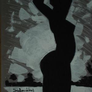 35χ50 λαδι ποζα παραλια . ζωγραφος αντωνης στεφανακος