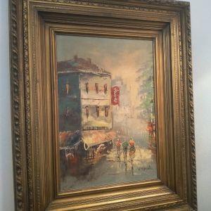 Πίνακας Ζωγραφικής με Σπάτουλα κ Ξύλινη Κορνίζα! Υπογεγραμμενος! Διαστάσεις:79×75 με Κορνίζα. Το θέμα:48×33