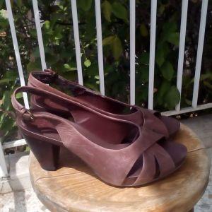 Clarks παπούτσια τακούνι δέρμα καφέ 39 ανατομικά