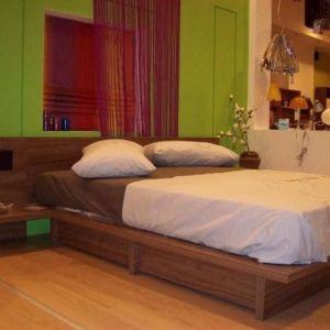 NEOSET DOMUS διπλό κρεββάτι κερασιά (160Χ208εκ) με μεγαλο αποθηκευτικό χωρο και κομοδίνα, σετ