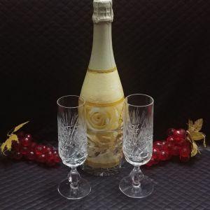 Ποτήρια σαμπάνιας τετ-α-τετ Nachtmann. Vintage κρύσταλλο Γερμανίας 1960