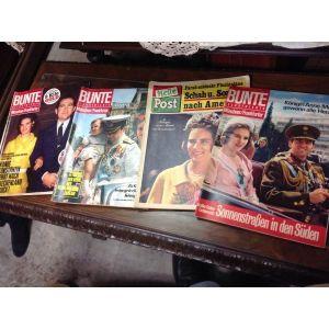 4 Περιοδικα  BUNTE  με Ελληνικη Βασιλικη οικογενεια1966
