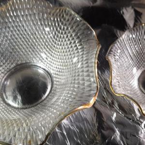 συλλεκτικά πιατάκια 2 εξάδες κρυστάλλινα με  χρυσό εποχής 1940 60