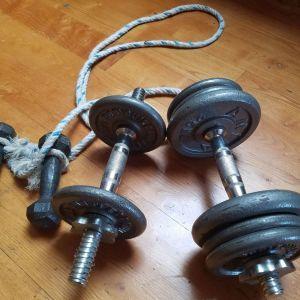 Σετ απο αλτηρες γυρω στα 25 κιλα μαζί με σκοινί. 4 λαβες κ βαρη διαφορων μεγεθων. Τα μικρα μπορουν να χρησιμοποιηθουν για σκοινακι για παρα πολυ αποτελεσματικη αεροβια ασκηση