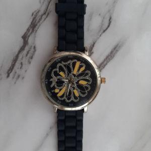 Γυναικείο μαύρο ρολόι χειρός με σχέδιο στο καντράν