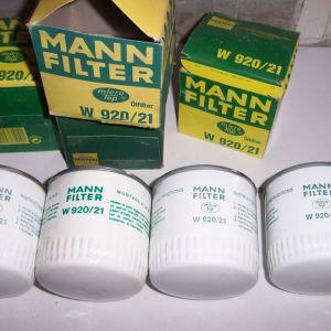 MANN W 920-21 - LADA NIVA - NOVA - LADA 1200-1500-1600-2107- 4 ΦΙΛΤΡΑ ΛΑΔΙΟΥ - PREMIUM OIL FILTER MANN