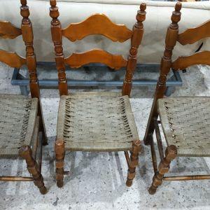 3 ψάθινες καρέκλες.Δυν.Μεταφορας