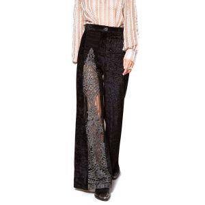 Nidodileda Arche velvet black lace with strass bottoms/ Παντελόνι μαύρο καμπάνα, βελούδο με δανδέλα