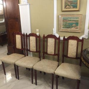 4 vintage καρεκλες τραπεζαριας με χειροποιητο σκαλισμα Τα καθισματα μονο  χρήζουν  αλλαγής  ταπετσαρίας 0,44 πλατος0,48 μηκος καθισματος 1,05 υψος