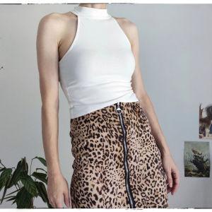 [ ΦΟΥΣΤΑ & ΤΟΠ ] Leopard print pencil skirt & White Top