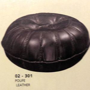 πουφ δερμάτινος χρώματος σκούρο καφέ καινούργιο