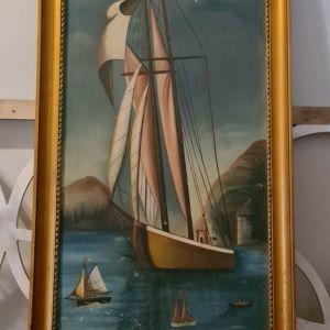 Πίνακας ζωγραφικής με θέμα καράβια και υπέροχη vintage κορνίζα