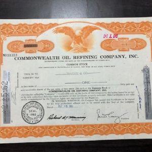 ΗΠΑ - USA - TITΛΟΣ 1 ΜΕΤΟΧΗΣ - 1961 - COMMONWEALTH OIL REFINING COMPANY , INC