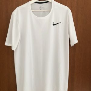 T-Shirt Nike Dri-fit Ανδρική κοντομάνικη μπλούζα άσπρο μέγεθος XL στενή γραμμή