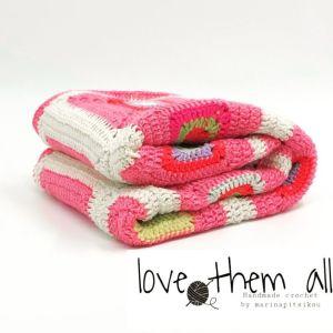 Χειροποίητη πλεκτή Βρεφική παιδική  κουβέρτα για καρότσι κούνια ροζ