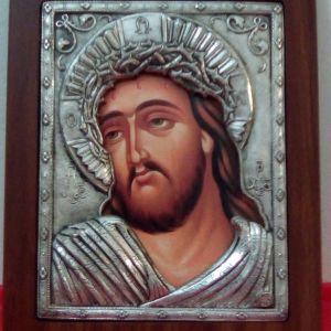 Βυζαντινή , με ασήμι εικόνα του Χριστού Silvero