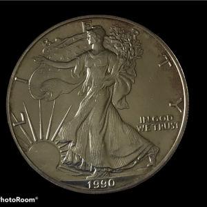 USA 1 oz silver 1990