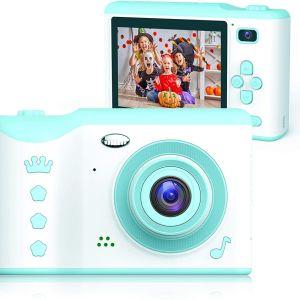 Bright Platinum ( BP-CA-02) Kids Camera - Βιντεοκάμερα με διπλή κάμερα 8MP για παιδιά με οθόνη αφής 2,8 ιντσών, με κάρτα TF 32 GB (Mint)